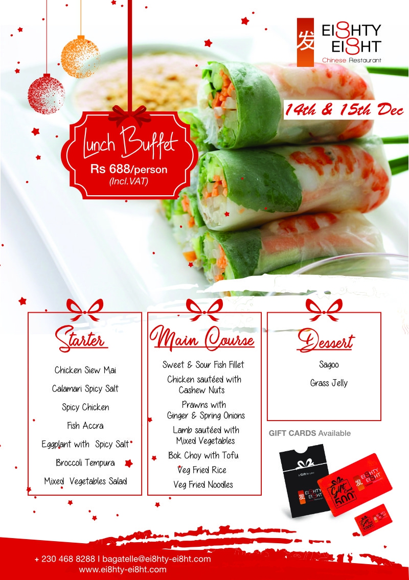 Eighty Eight Lunch Buffet for the 14th & 15thDecember 2020
