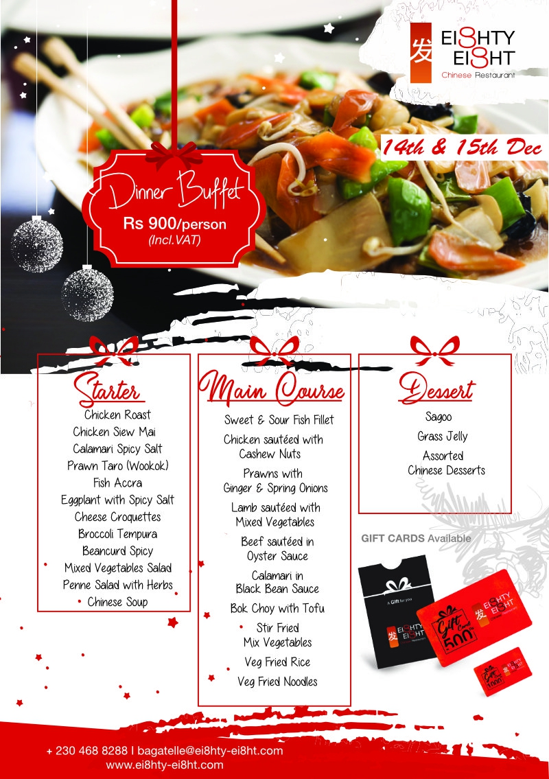 Eighty Eight Dinner Buffet for the 14th & 15thDecember 2020