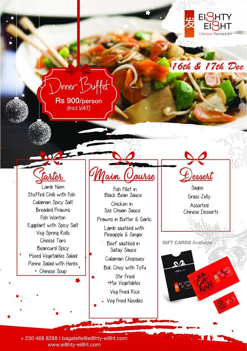 Eighty Eight Dinner Buffet for the 16th & 17thDecember 2020
