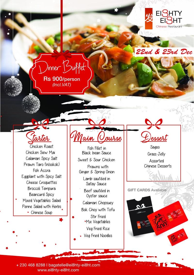 Eighty Eight Dinner Buffet for the 22nd & 23rdDecember 2020