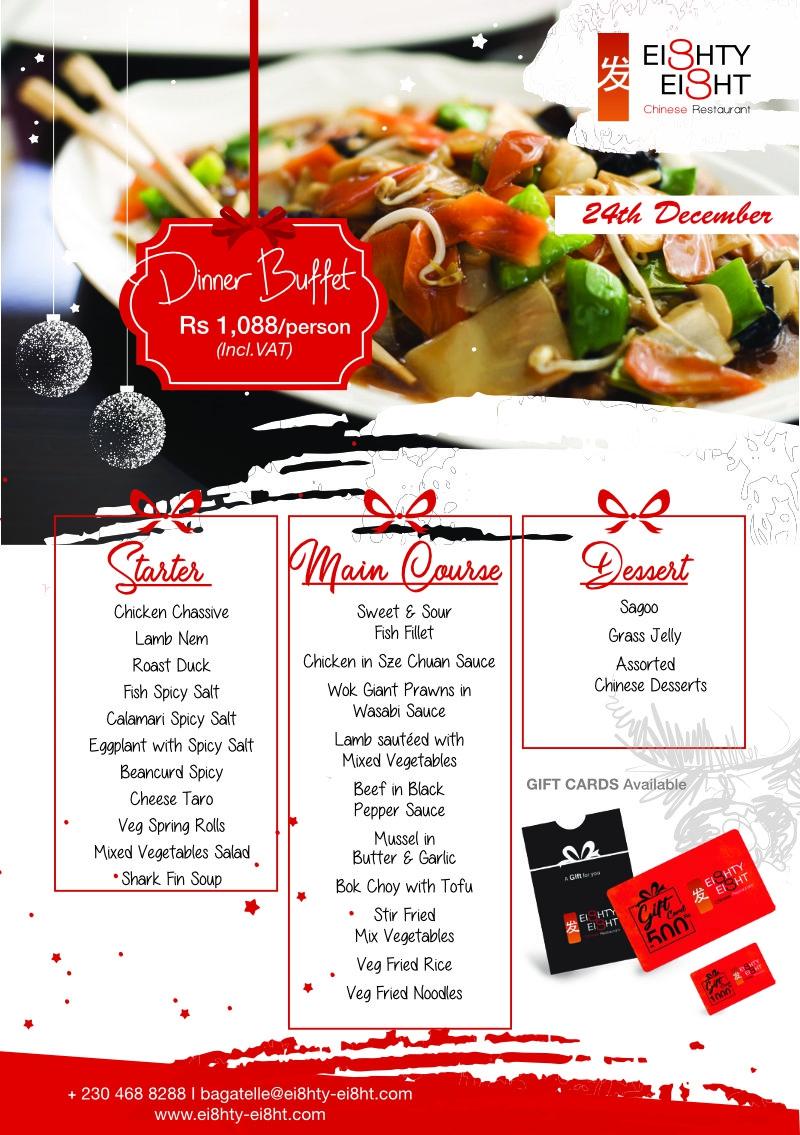 Eighty Eight Dinner Buffet for the 24thDecember 2020