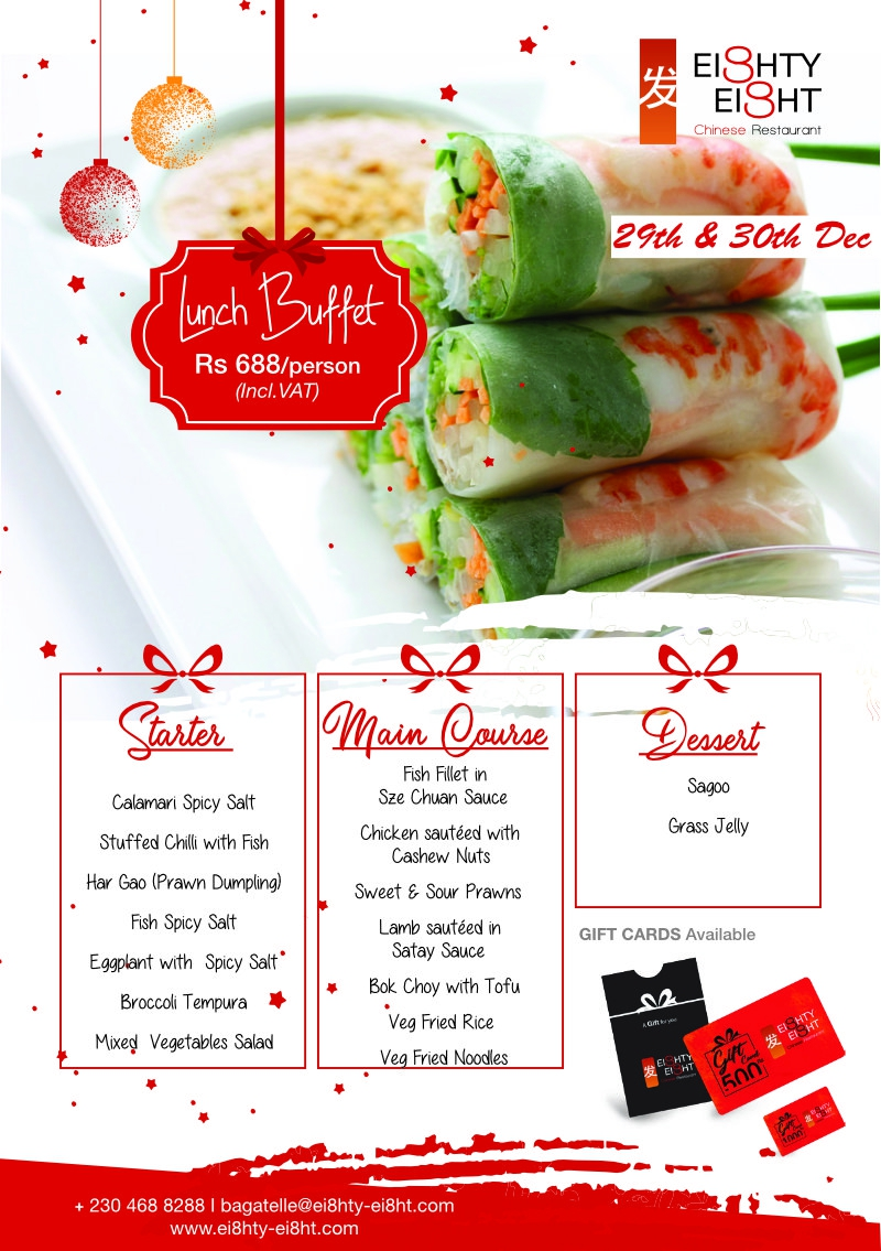 Eighty Eight Lunch Buffet for the 29th & 30thDecember 2020