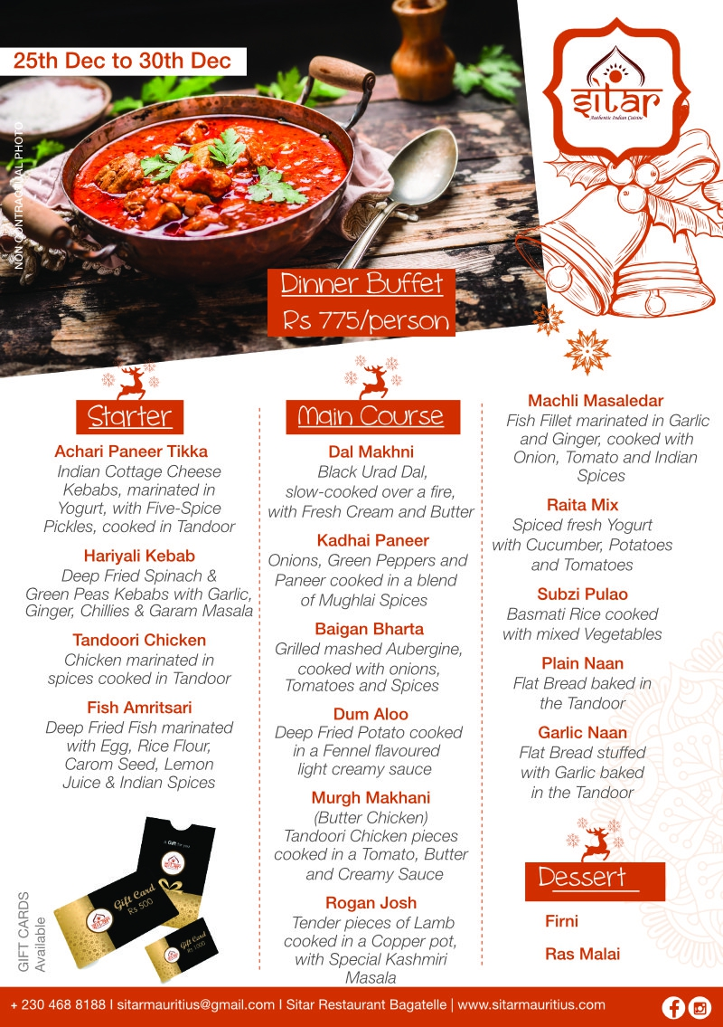 Dinner Buffet at Sitar - 25th Dec 2020 to 30th Dec 2020