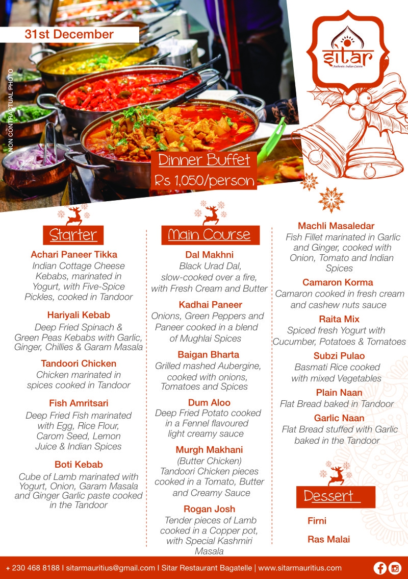 Dinner Buffet at Sitar - 31st Dec 2020