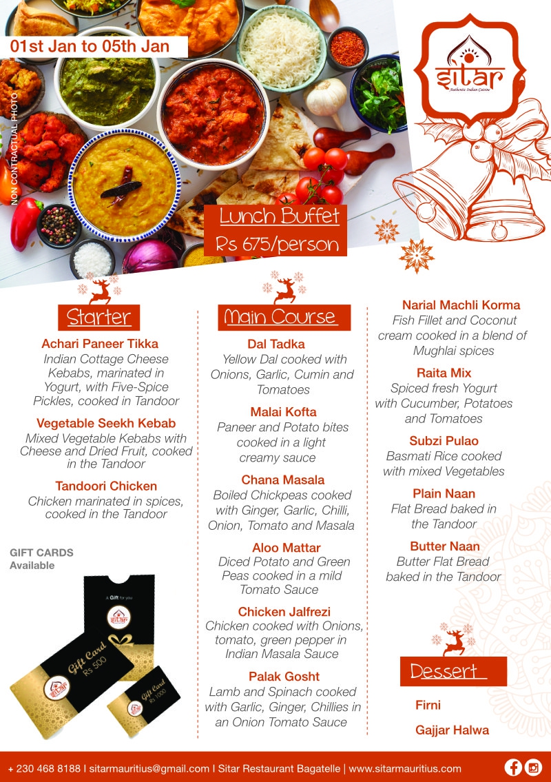 Lunch Buffet at Sitar - 1st Jan 2021 to 5th Jan 2021