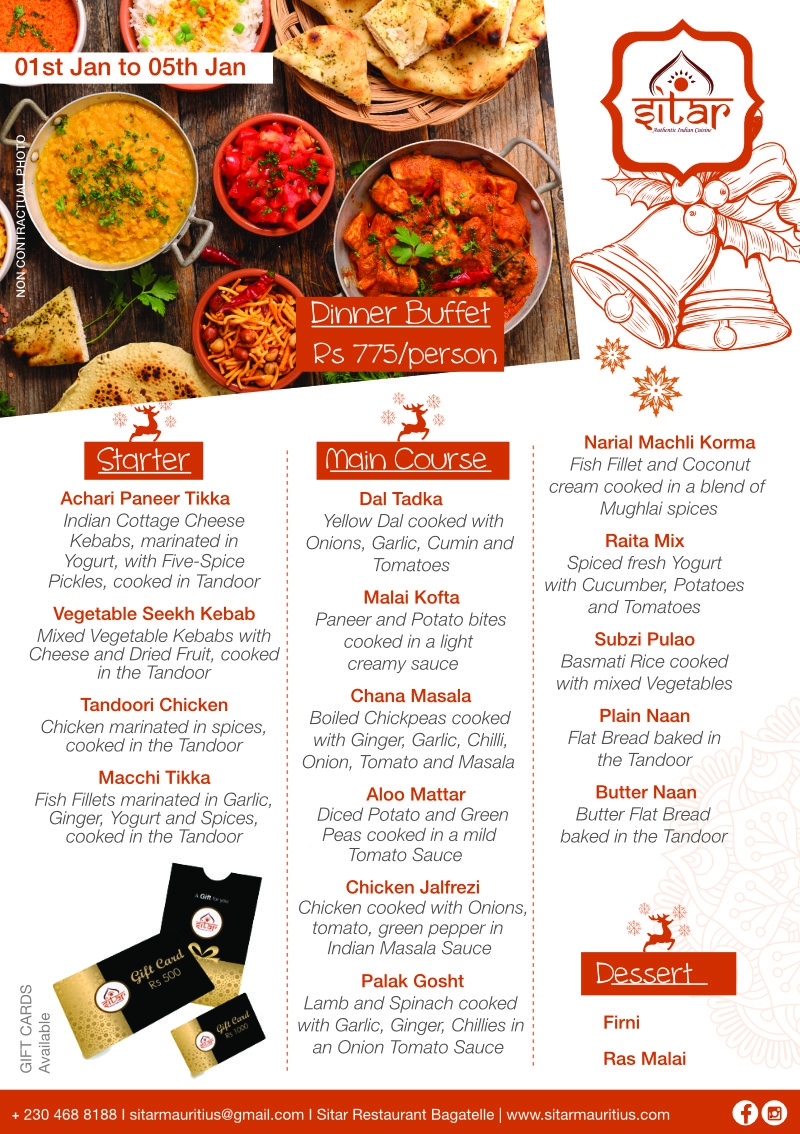 Dinner Buffet at Sitar - 1st Jan 2021 to 5th Jan 2021