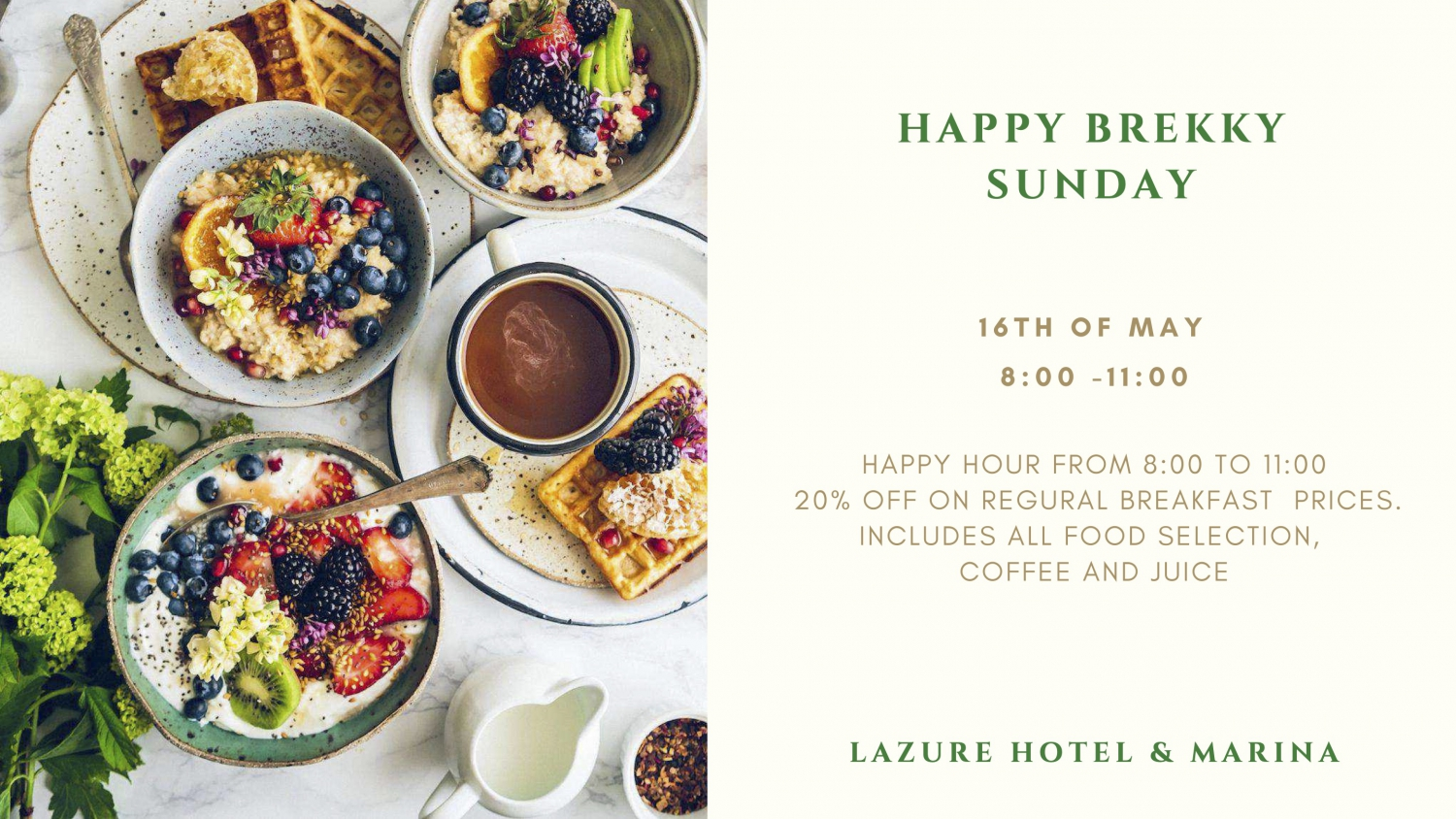 Special Offer: Happy Brekky Sunday at Lazure Hotel