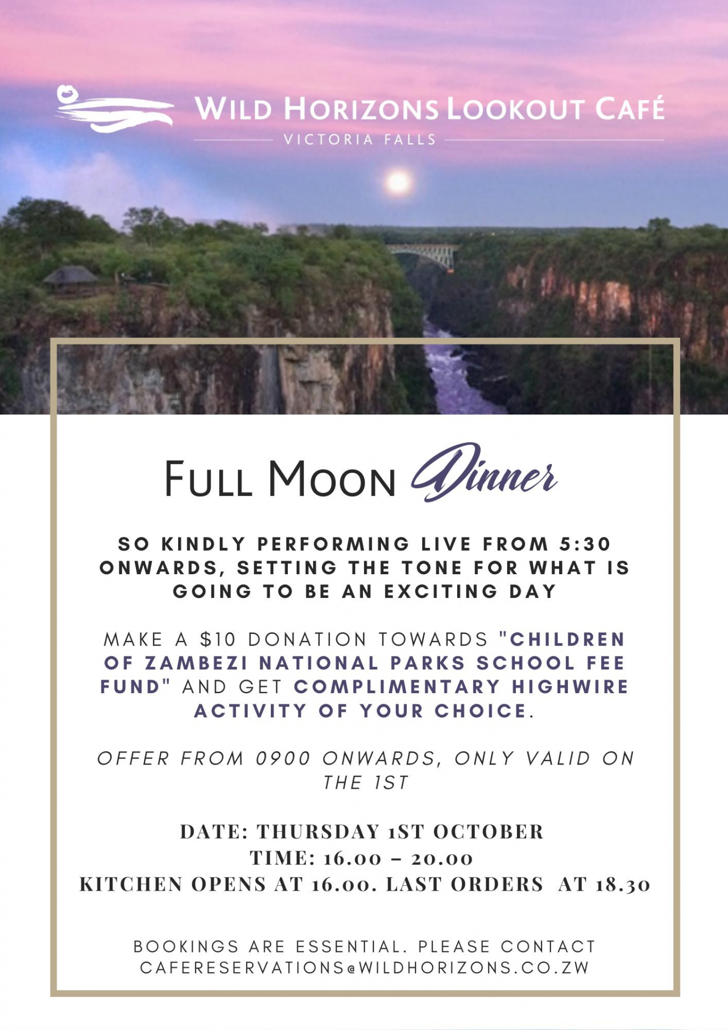 Full Moon Dinner At Lookout Cafe