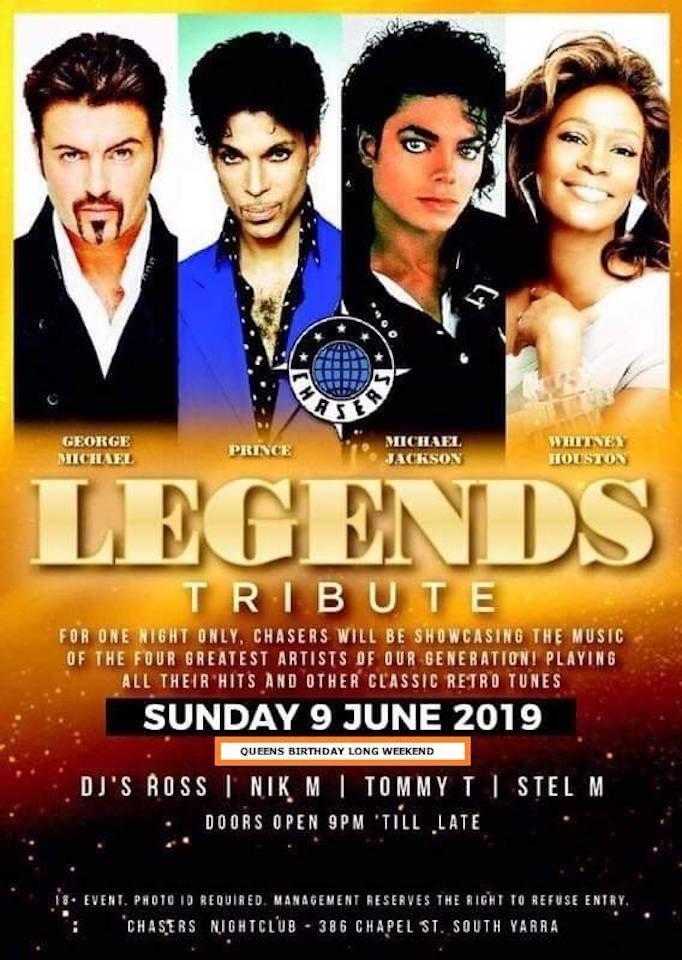 80's LEGENDS TRIBUTE vip FREE event - George Michael : Prince : Michael Jackson : Whitney