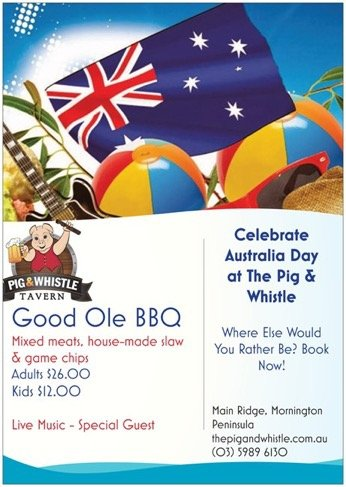 Celebrate Australia Day at The Pig & Whistle (Mornington Peninsula)