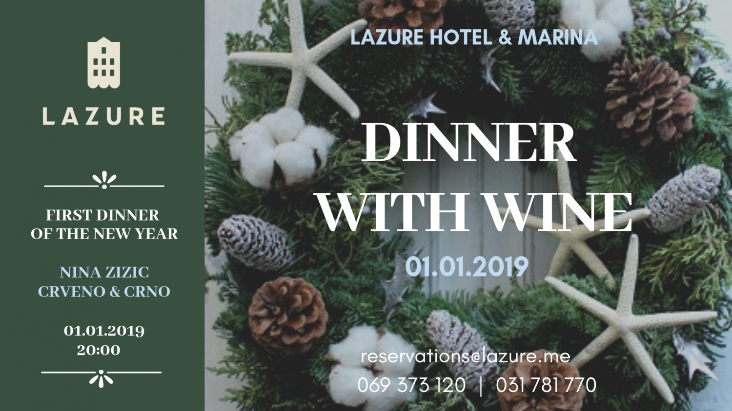 Dinner with Wine at Lazure Hotel & Marina