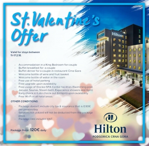 Special Offer for St. Valentine's Day at Hilton Podgorica