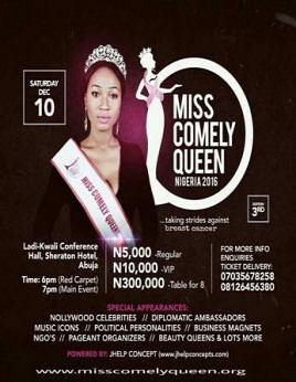 Miss Comely Queen Nigeria 2016 (3rd Edition)