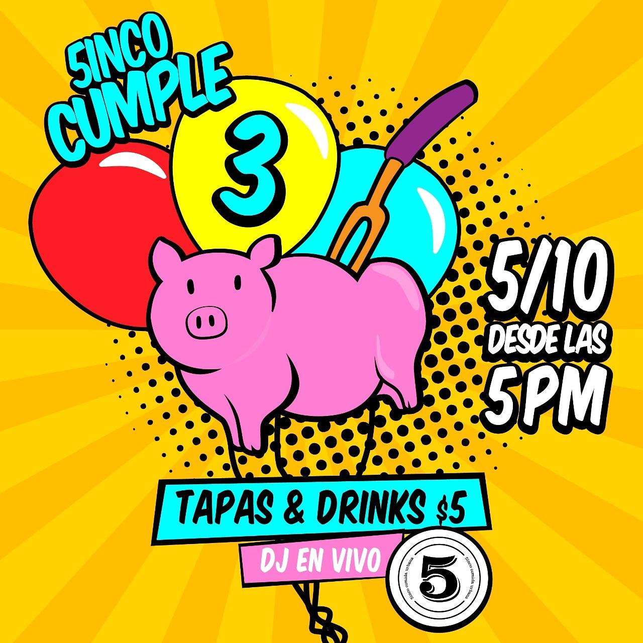 5th birthday of 5inco restaurant