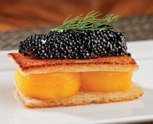 Toasted egg yolk and caviar