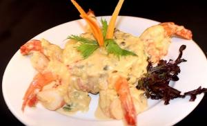 Sweet Plantain Mofongo w Shrimp