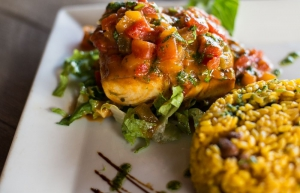 Mahi Mahi with Mamposteado Rice and Creole Sauce
