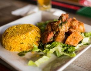 Fried Pork Chunks with Mamposteao Rice