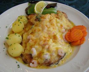 Plaice with shrimp gratin
