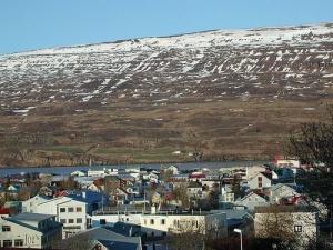 Akureyri Iceland mountain and ocean view over the town