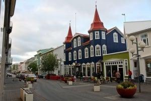 Shopping in Hafnargata walking street in Akureyri City Iceland