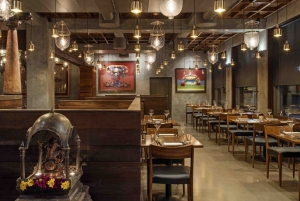 The comfortable and elegant dining area of the Austur India Fjelagid Indian Restaurant in Reykjavik, Iceland