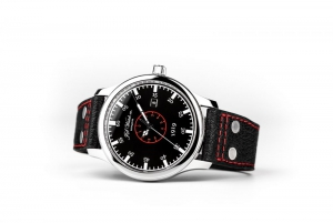 Black Sunburst dial with red circle and luminous indexes