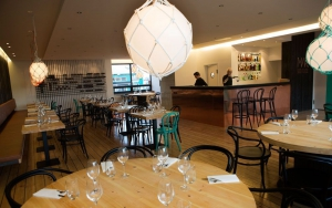 The spacious, bright and elegant dining area in Mar Restaurant by the Old Harbour in Reykjavik