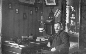 J. Frank Michelsen, the original watchmaker, in his shop