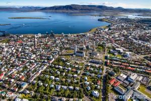 Romantic Helicopter Flight over Reykjavik