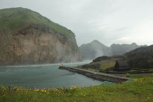 A house on the shore in the Westman Islands (Vestmannaeyjar), South Iceland.