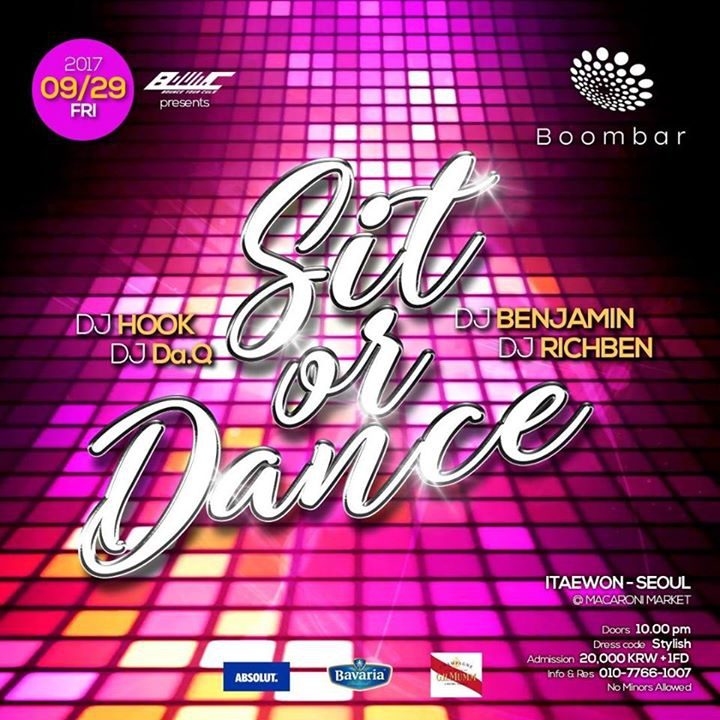 9.29(Fri.) Sit or Dance @Boombar, Itaewon