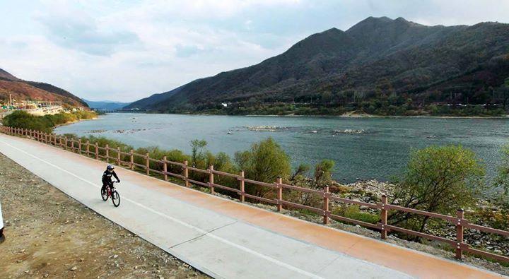 Electric Bicycle Riding along Paldang Bike Trail