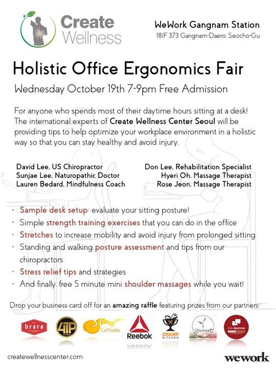 Holistic Office Ergonomics Fair at Wework Gangnam 18F
