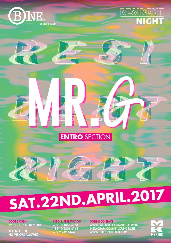 Resident Night DJ Mr.G @ B One