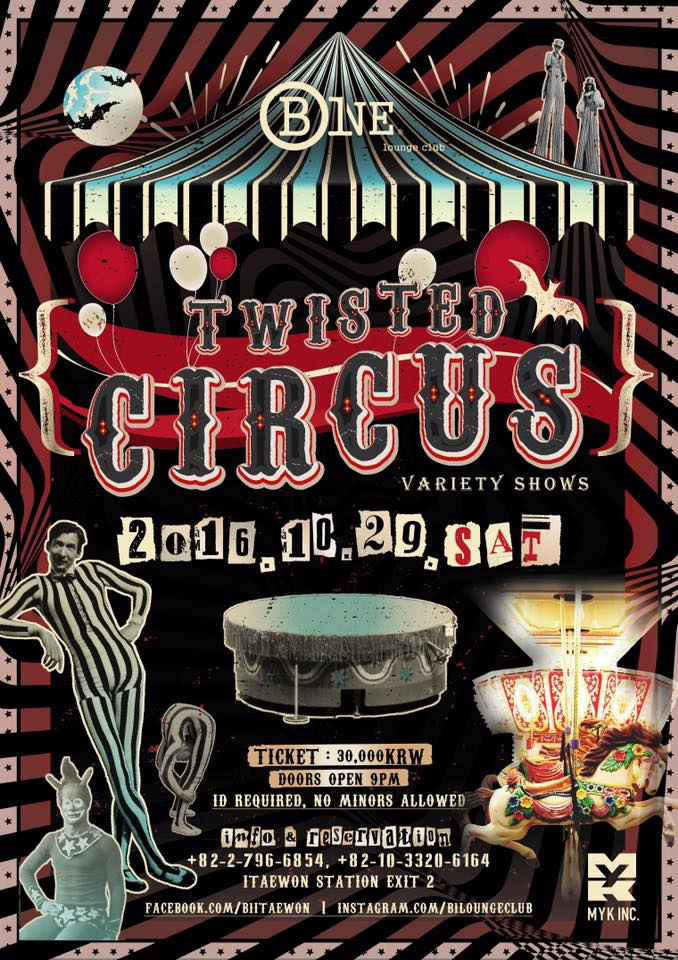 Twisted Circus Halloween Party at B One Lounge Club Itaewon