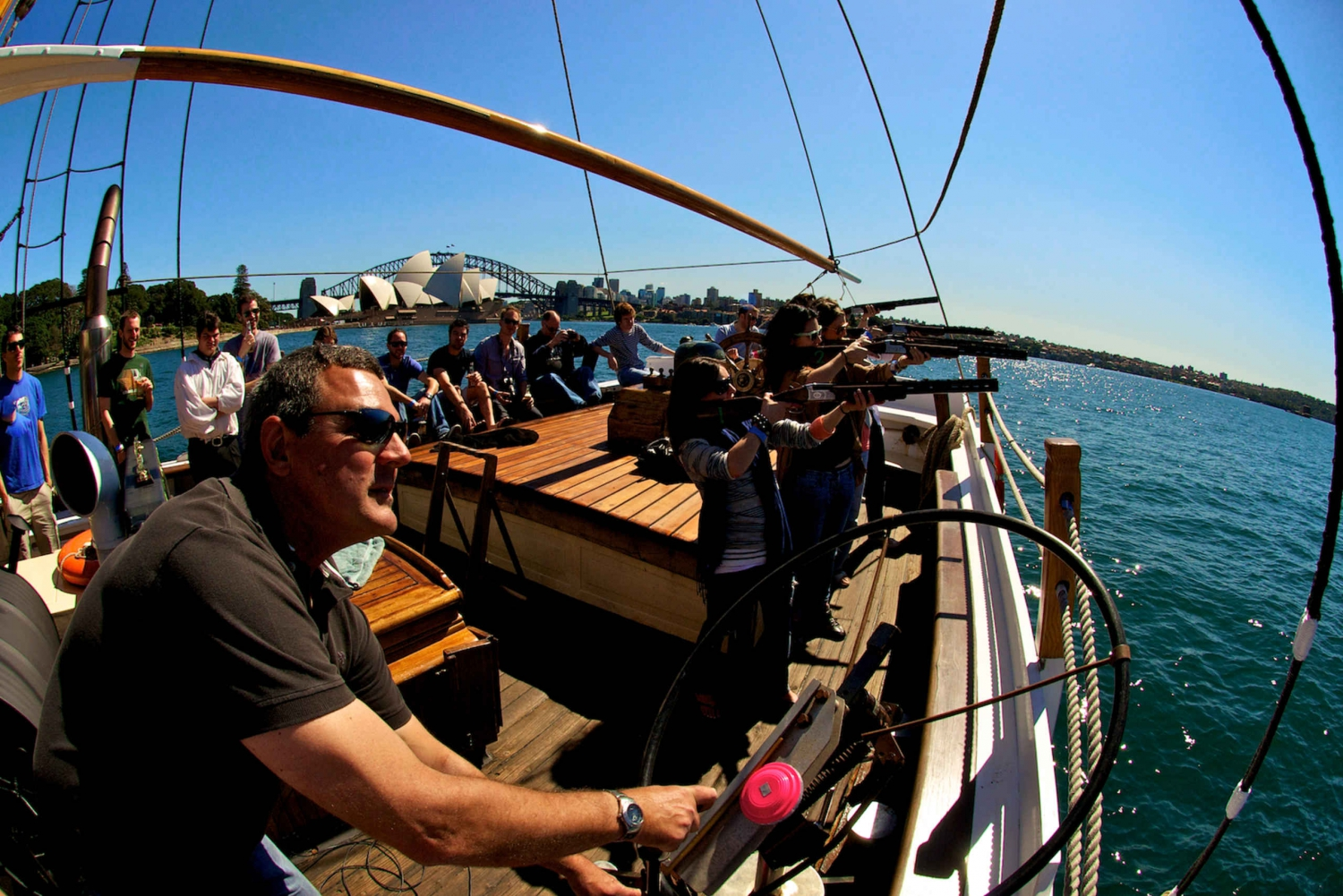 Sydney Harbour Tall Ship Laser Clay Shooting with Mast Climb