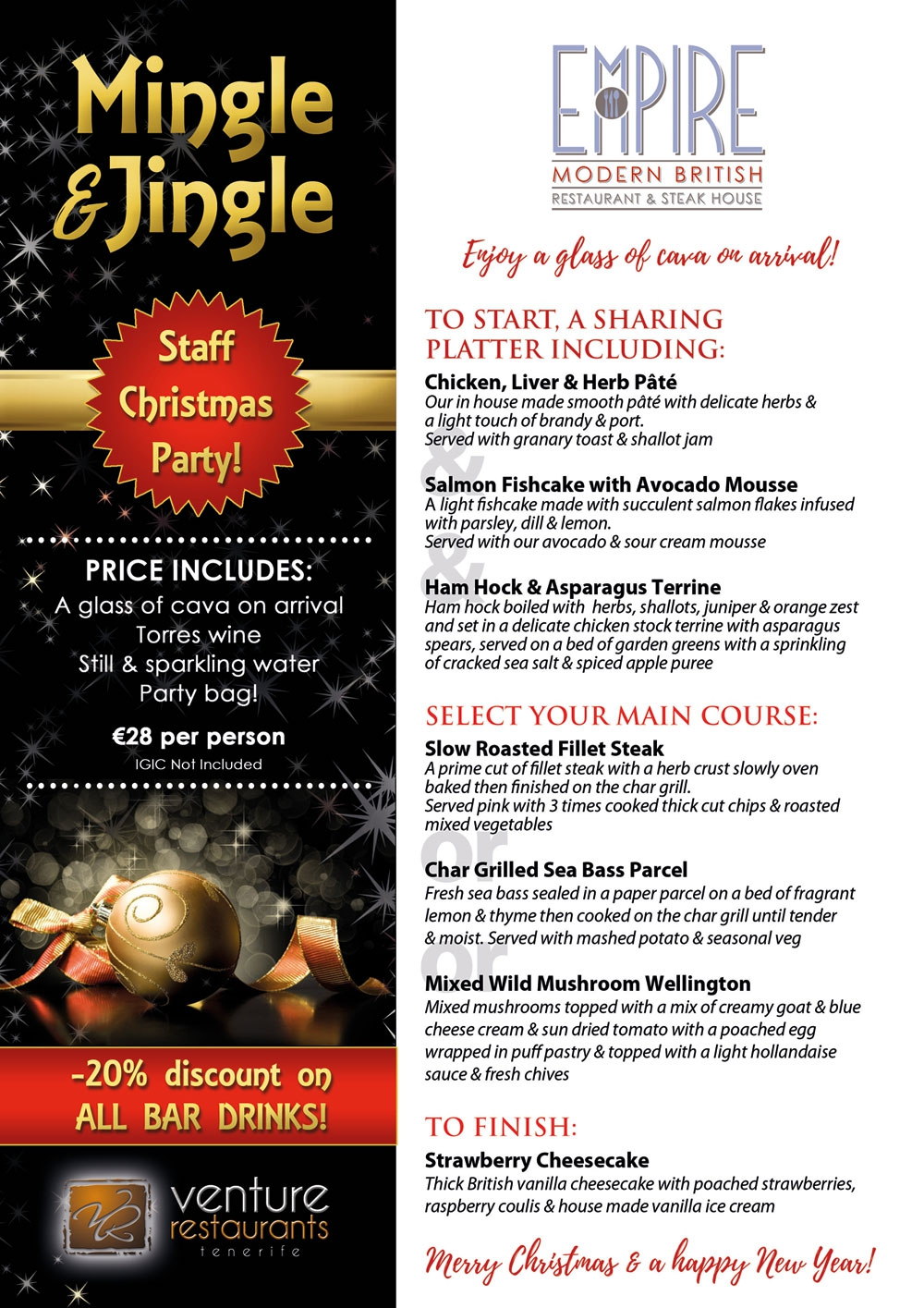 Book Your Christmas Party at Empire Restaurant