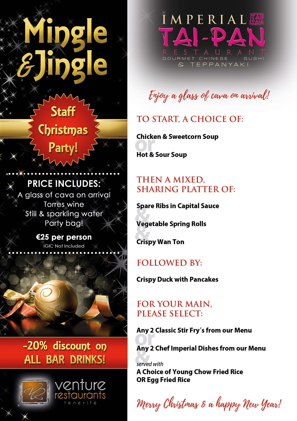 Book Your Christmas Party at Imperial Tai-Pan Restaurant