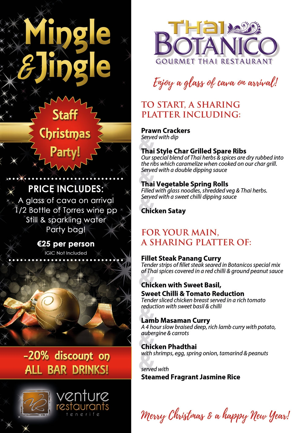 Book your Christmas Party at Thai Botanico