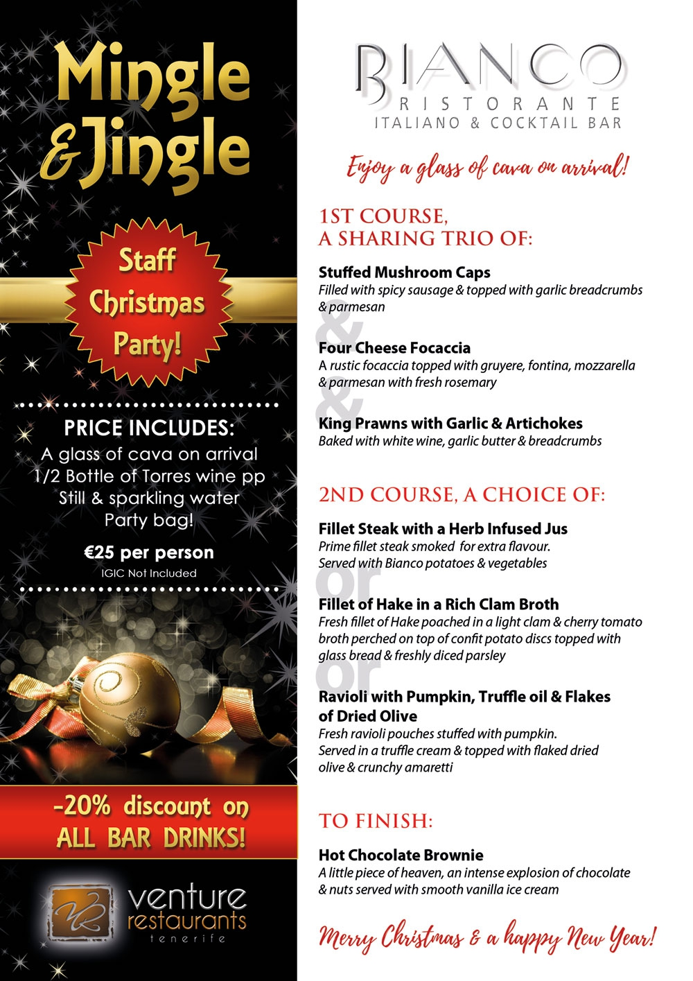 Celebrate Your Staff Christmas Party at Bianco Restaurant