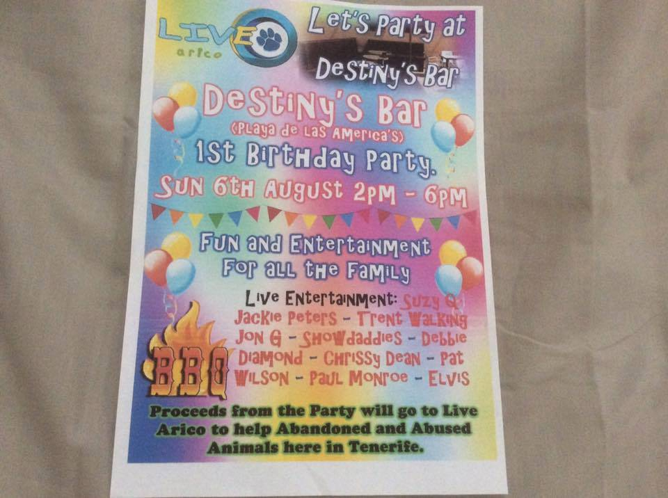 Charity Day in Destiny's Bar for Live Arico