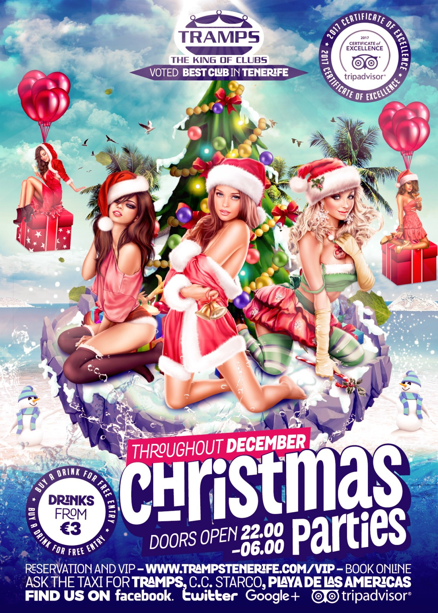 Christmas Parties at Tramps on Veronicas in Tenerife