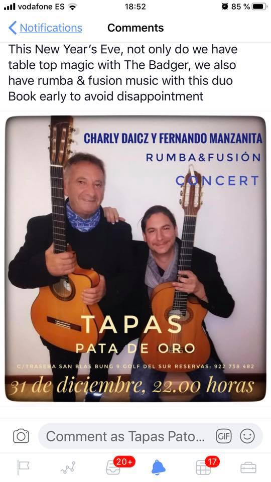 New Year's Eve Magic & Music at Tapas Pato de Oro