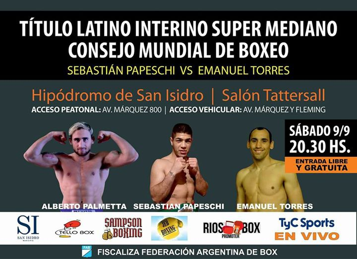 Papeschi vs Torres. Título Latino WBC SuperMediano x TyC Sports