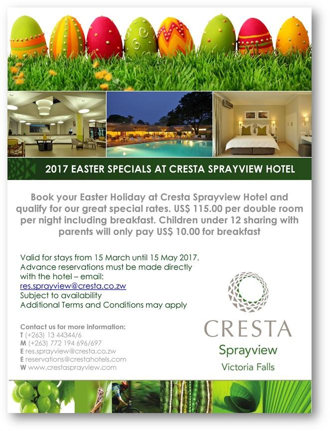 2017 Easter Specials At Cresta SprayView Hotel