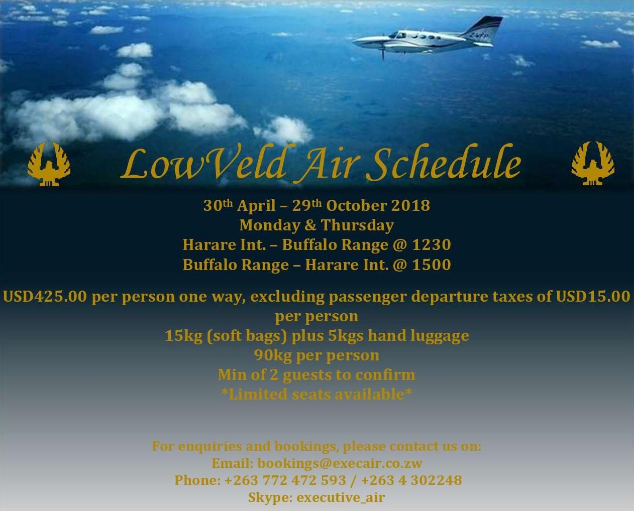 2018 Lowveld Air Schedule - Buffalo Range / Chiredzi
