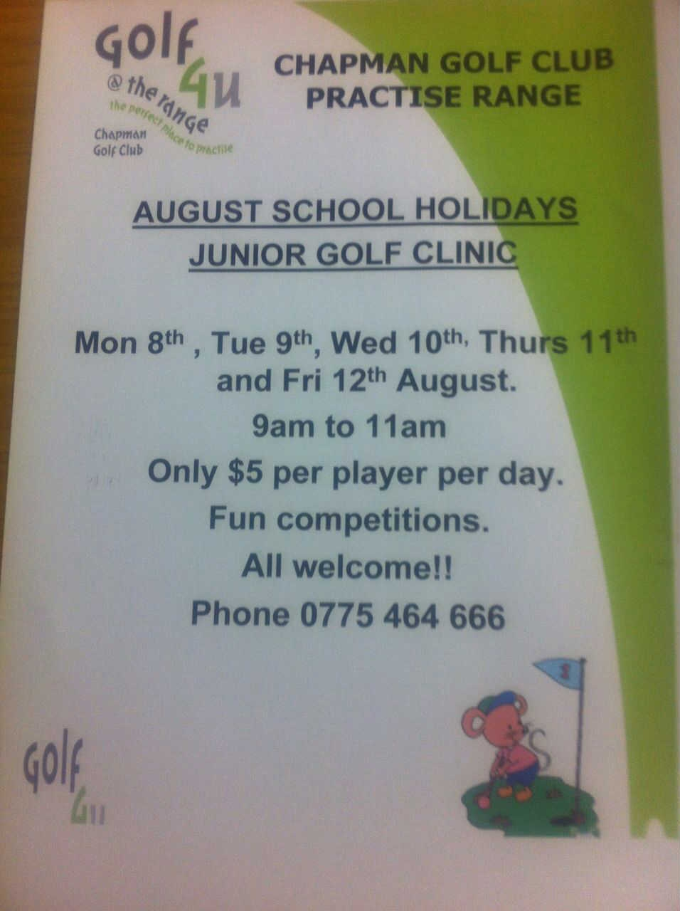 August School Holiday Junior Golf Clinic
