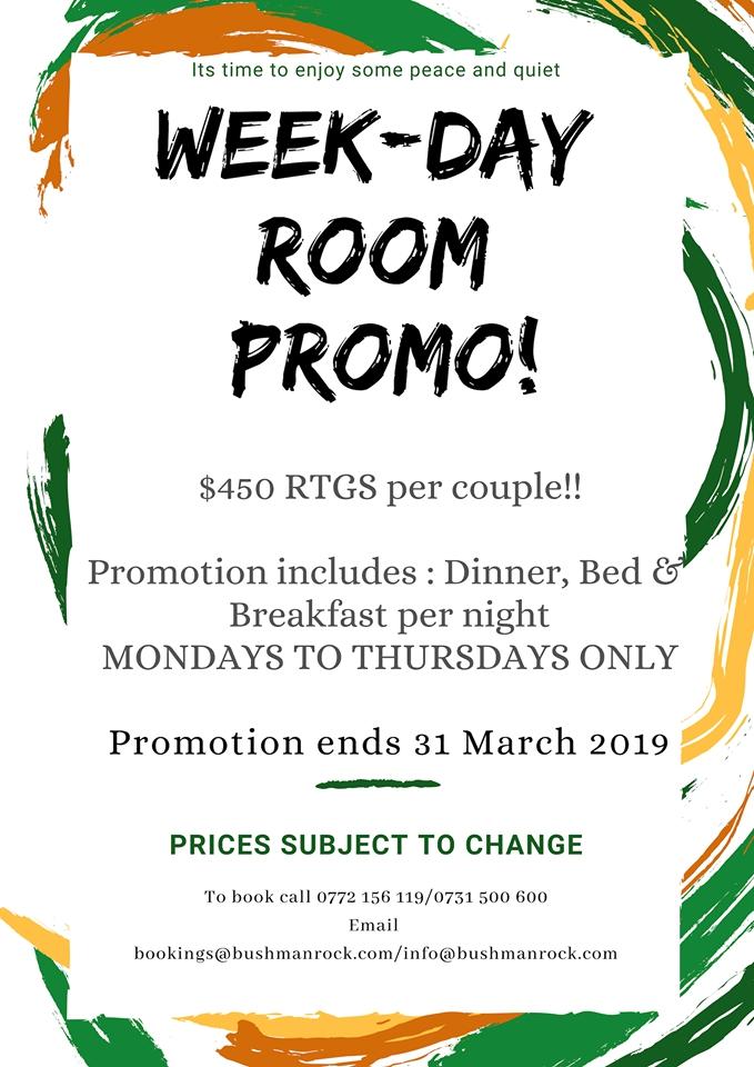 Bushman Rock Special- Week-Day Room Promo