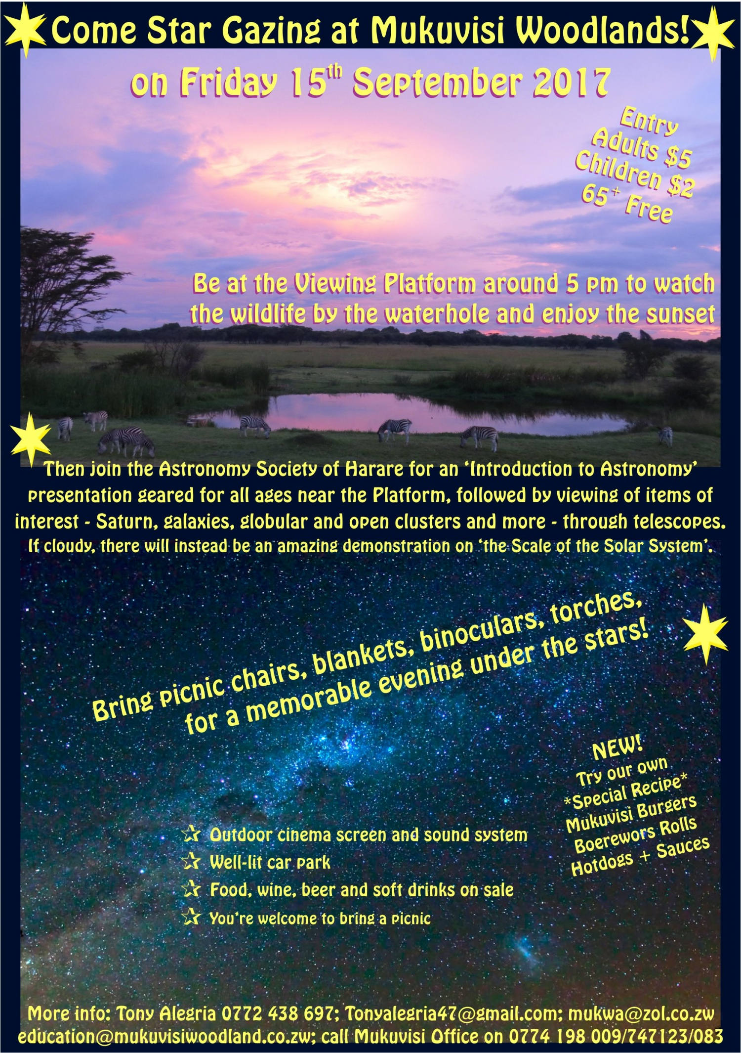 Come Star Gazing at Mukuvisi Fri 15 Sept 2017